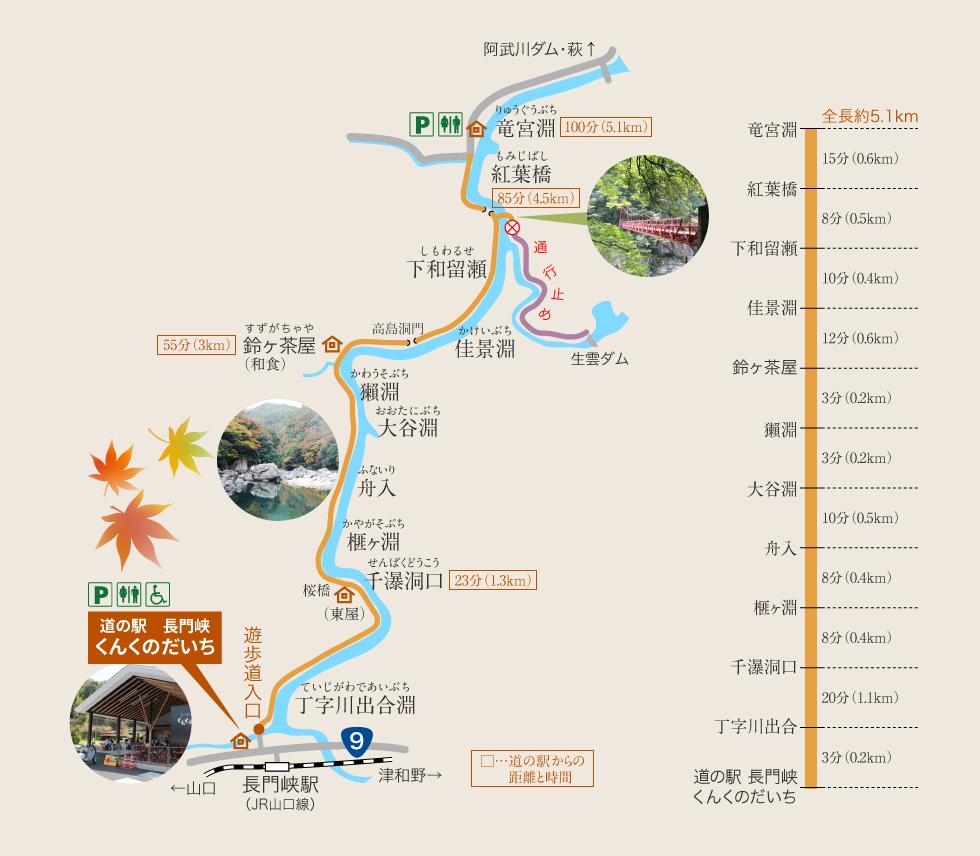長門峡の地図